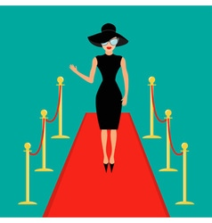 Red carpet and rope barrier golden stanchions vector