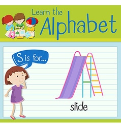 Flashcard letter S is for slide vector image