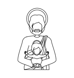 Contour half body saint joseph with baby jesus vector