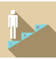 Infographics stair step icon flat style vector
