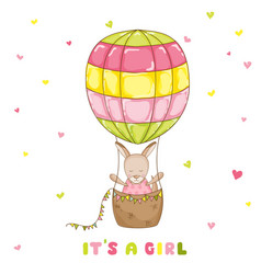 Baby girl kangaroo with a balloon baby shower card vector