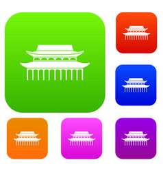 Buddha toothe relic temple in singapore set vector