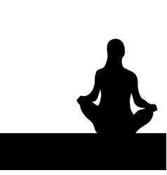 Woman lotus pose black silhouette vector