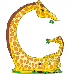 Animal alphabet giraffe vector