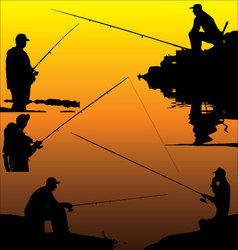 Fisherman silhouettes vector