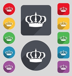 Crown icon sign a set of 12 colored buttons and a vector