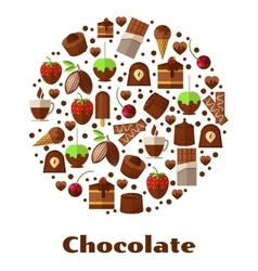Desserts and delicacies chocolate food round sign vector