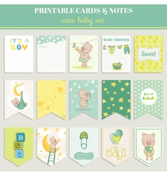 Baby boy card set - for birthday baby shower vector
