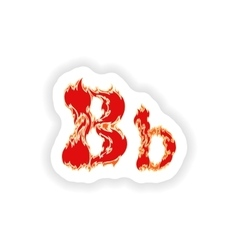 Sticker fiery font red letter b on white vector
