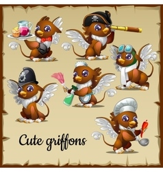 Six cute griffons engaged in their own business vector
