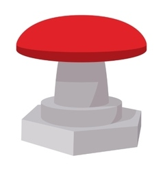 Red button icon cartoon style vector