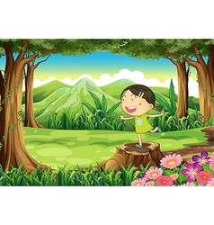 A cute child above the stump at the forest vector image vector image