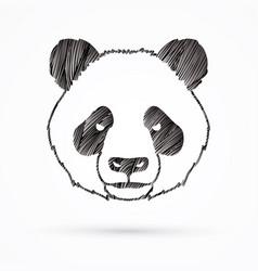 Angry panda head cartoon fat panda face vector