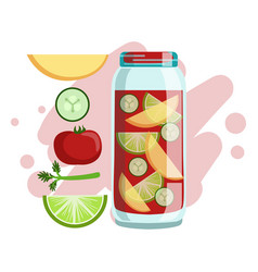 Apple cucumber tomato and lime smoothie non vector