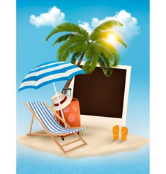 Beach with a palm tree a photograph and a beach vector