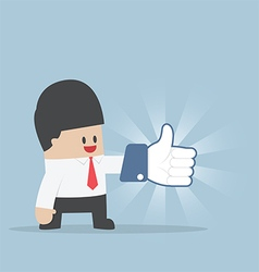 Businessman wearing thumbs up gloves vector
