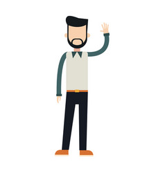 Character bearded man male wearing vest vector