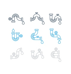 Different pipes for plumbing set of icons vector image