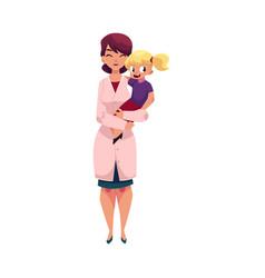 Doctor pediatrician holding little girl child vector