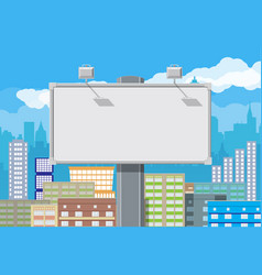 empty urban billboard with lamp and cityscape vector image