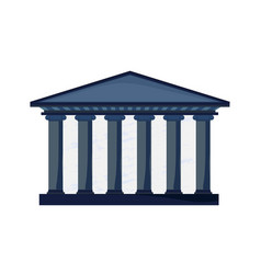 Facade of a court building with columns in greek vector