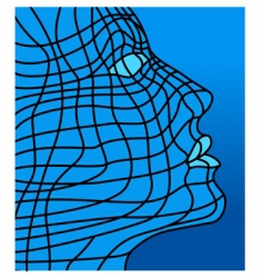 face in blue vector image vector image