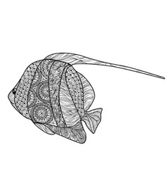 fish isolated with ornamental pattern doodle vector image vector image