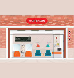 Hair salon exterior building and interior beauty vector