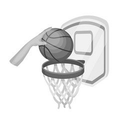 hand with a ball near the basketbasketball single vector image vector image