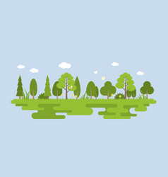 info graphic and elements of natural forest vector image vector image