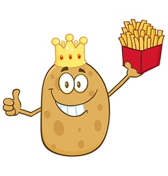 King Potato Cartoon with Fries vector image vector image