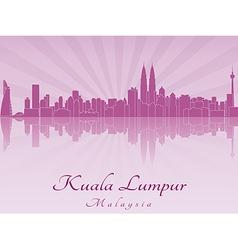 Kuala Lumpur skyline in purple radiant orchid vector image