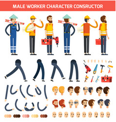 male worker character constructor composition vector image