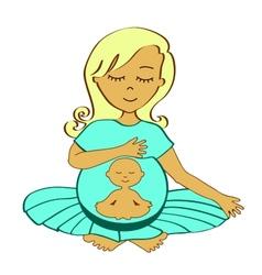 Meditating mother vector
