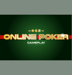 online poker word text logo banner postcard vector image