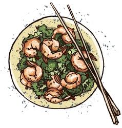 Prawn salad vector