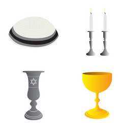 set of jewish objects vector image