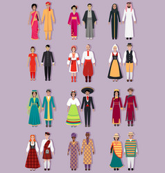 Set of National Costumes Design vector image