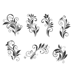 Seven floral elements vector image vector image