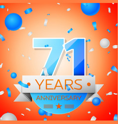 Seventy one years anniversary celebration vector