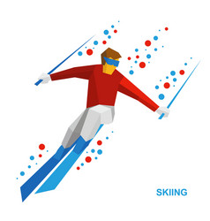 skiing - cartoon skier running downhill vector image vector image