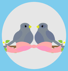 Sweethearts on a branch icon vector image vector image