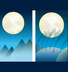 two moonlit night vector image vector image