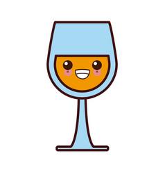wine glass cup kawaii cute cartoon vector image