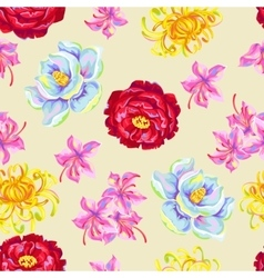 Seamless pattern with china flowers bright buds vector