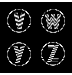 Capital letters v w y z  from white stripe in vector