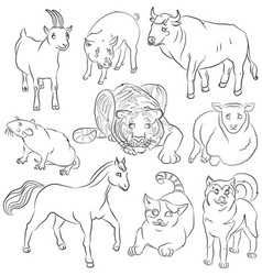 bull-cat-dog-goat-horse-pig-rat-sheep-tiger vector image