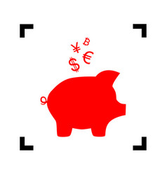 piggy bank sign with the currencies  red vector image