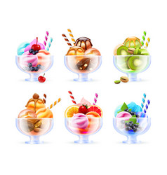 Sherbet icecream glass set vector