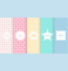 Pastel retro different seamless patterns vector